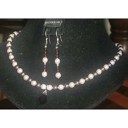 Swarovski Rosaline & Burgundy Pearls Handcrafted Custom Necklace Set