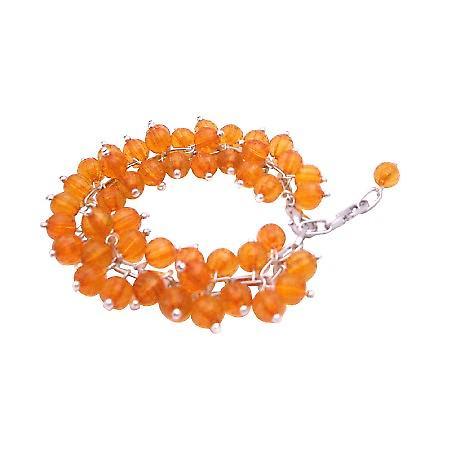 Orange Cat Eye Bracelet Multi Tiny Orange Cat Eye Beads Bracelet