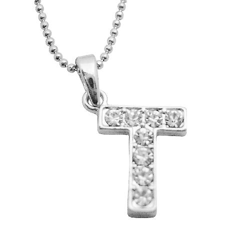 Buy Your Letter Pendant Starting w/ T Fully Embedded Cubic Zircon