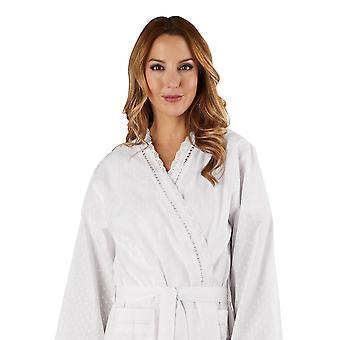 Slenderella HC3234L Frauen Baumwolle gewebt weißen Morgenmantel Loungewear Bath Robe Kimono