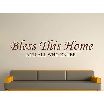 Bless This Home Wall Art Sticker - Brown