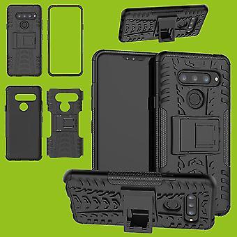 Für LG V40 ThinQ Hybrid Case 2teilig Outdoor Schwarz Tasche Hülle Cover Schutz