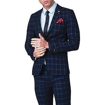 Benytte London Herre Navy Suit jakke Skinny Fit Notch revers rude Check