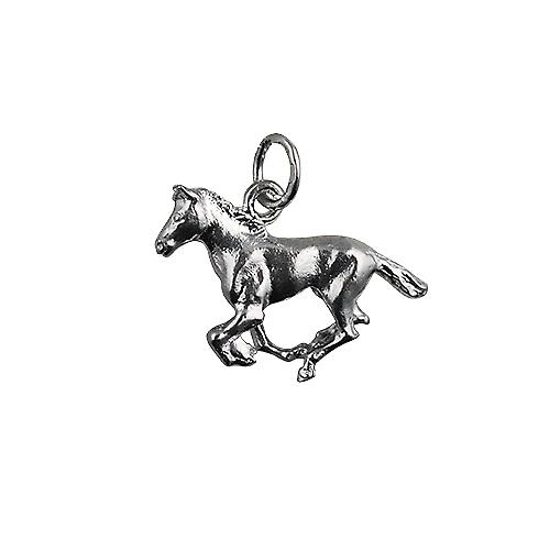 Silver 15x22mm galloping Horse Pendant or Charm