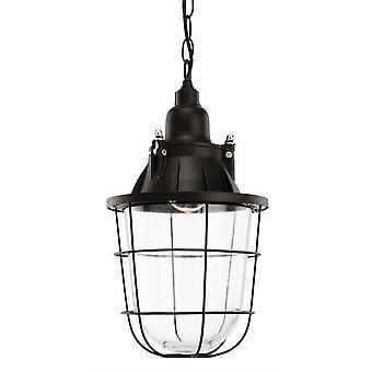 Firstlight-1 plafón ligero colgante negro, vidrio transparente-4871BK