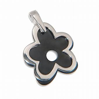 Jsuk Sterling Silver Black Porcelain Flower Pendant on 18 Inch Chain