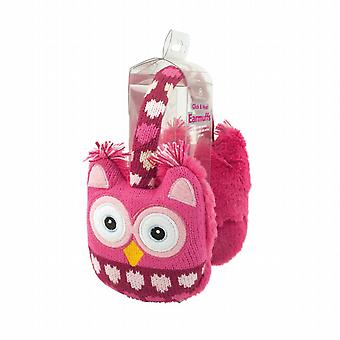 Cozy Ears Click & Heat Knitted Animal Ear Muffs: Pink Owl