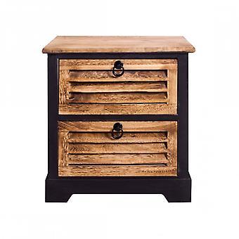 Möbler Rebecca Comodino 2 lådor Natural Brown Wood Vintage 45x40x27