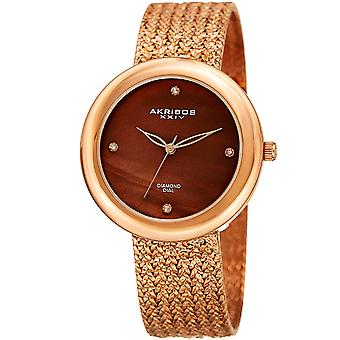 Akribos XXIV AK903RGBR Diamond Hour Marker Gold Tone Steel Mesh Watch