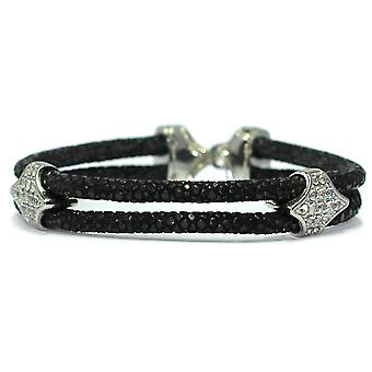 Lavriche Black Stingray and Stainless Steel Buckle Bracelet