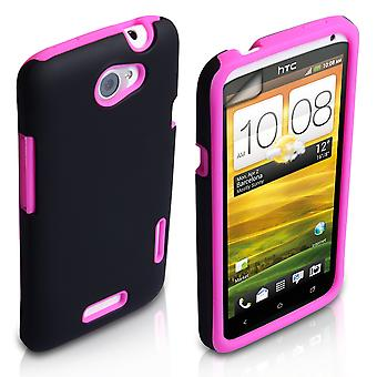 YouSave HTC One X Tough Mesh Combo Silicone Case - Pink-Black