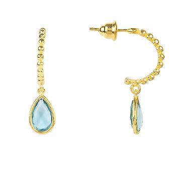 Beaded Hoop Gemstone Drop Earring Blue Topaz Gold Stud Wedding Silver 925 Gift