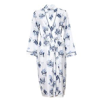 Cyberjammies 4239 Women's Harper White Mix London Print Cotton Long Robe