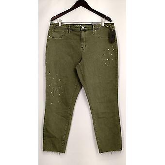 Mossino Jeans detallado pierna acortada con bolsillos verdes mujeres