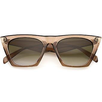 Womens Bold Sassy Horned Rimmed Frame Neutral Color Lens Cat Eye Sunglasses 52mm