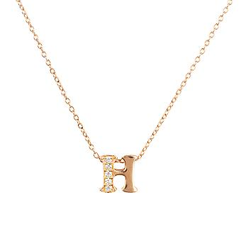 White Diamond Initial Pendant Necklace Letter Name Pink Rose Gold Personalised H
