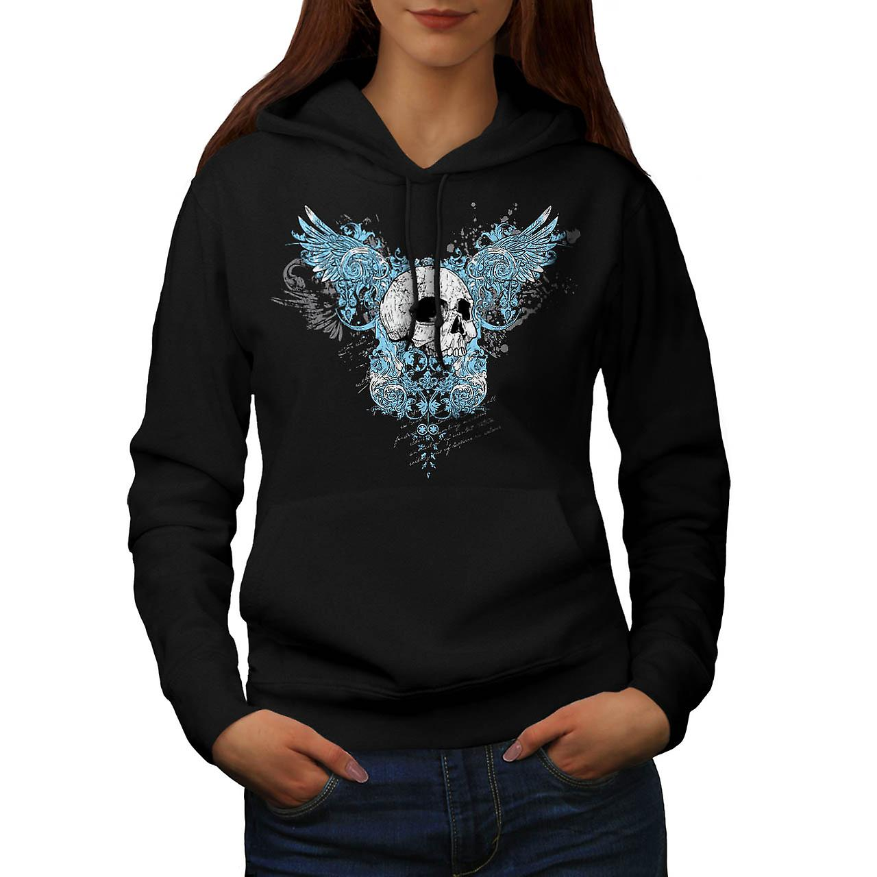 Wings Goth Biker Skull Women Black Hoodie | Wellcoda