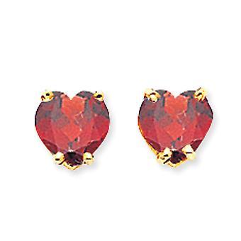 14 k geel gouden Post oorbellen 6mm hart Granaat Oorbellen - 1,70 cwt