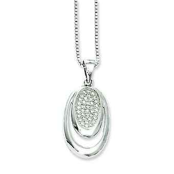 Sterling Silver and Cubic Zirconia Brilliant Embers Necklace - 18 Inch