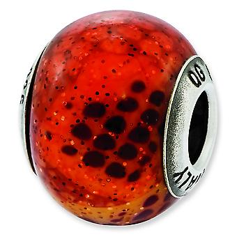 Sterling Silver Reflections Italian Pink and Orange Python Glass Bead Charm