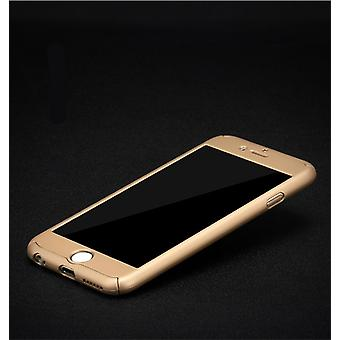 Full cover 360 case mobile protection cover with bullet-proof glass for Apple iPhone 5 / 5 s / SE in gold all around protection case cell phone cover case