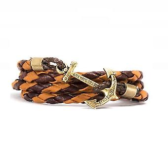 Kiel James Patrick Adirondack anchor Brown wood boat leather bracelet