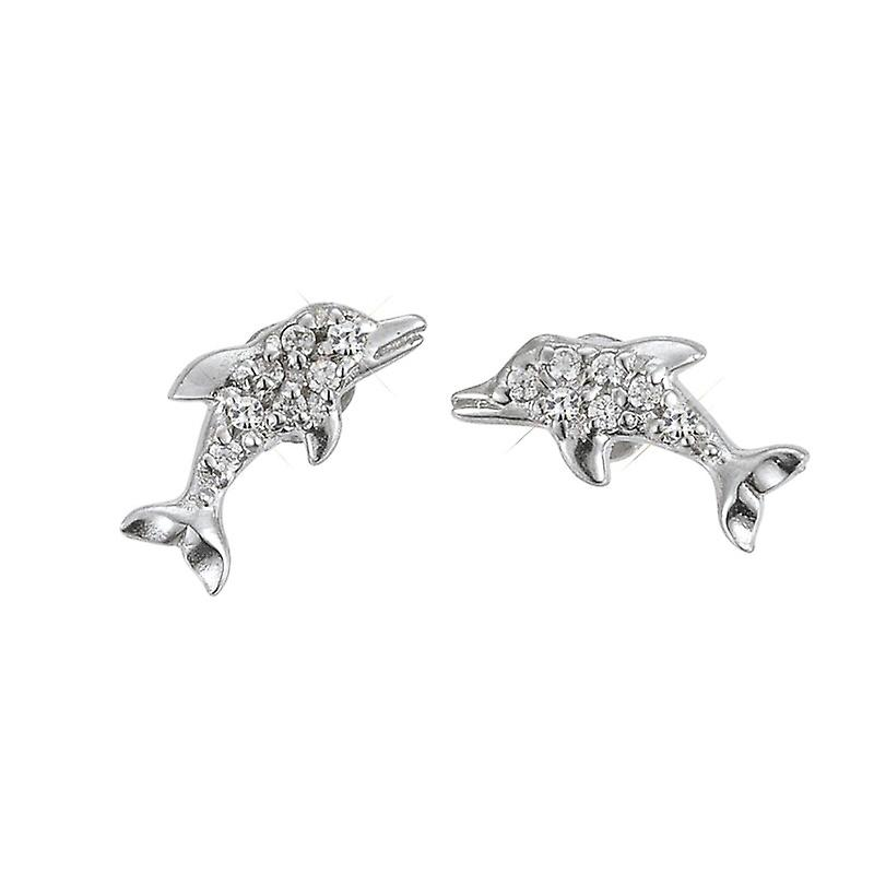 Scout children earrings silver dolphins glitter girl 262141100