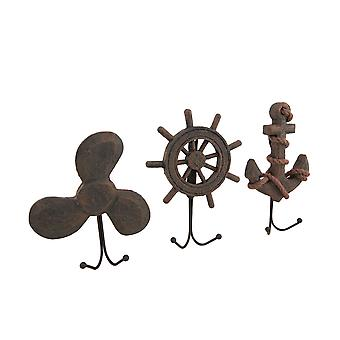Set of 3 Weathered Finish Anchor Prop and Wheel Nautical Wall Hooks