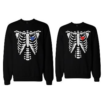 Skelett paar Sweatshirts Halloween Pullover Fleece für Horror-Nacht