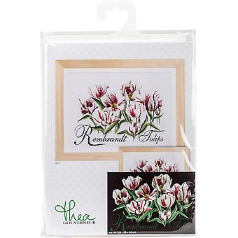 Rembrandt Tulips On Aida Counted Cross Stitch Kit-19.5