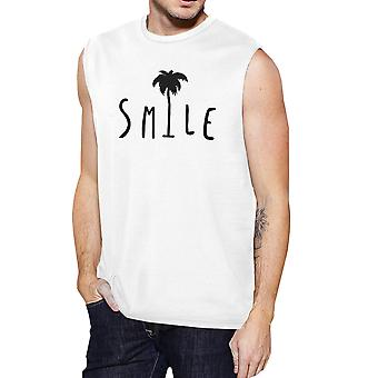 Smile Palm Tree Mens White Sleeveless Muscle Tee Cool Summer Top
