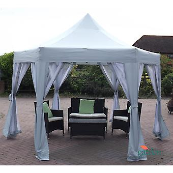 Horwood Metal Frame pop-up vouwen zeshoekige Gazebo 3,6 m x3 m met netto gordijnen