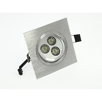 I LumoS High Quality Epistar 3 Watts Silver Square Aluminium Pure White LED Tiltable Recessed Spot Down light