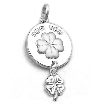 Silver Pendant around clover leaf FOR YOU engraved shiny matt 925 Silver