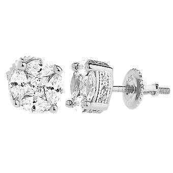 925 sterling silver bling cubic zirconia earrings - CLUSTER 8mm