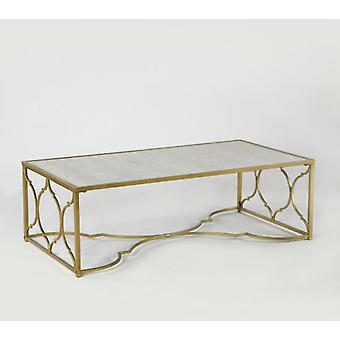 Wellindal Gold Metal Center Table and Mirror Aged