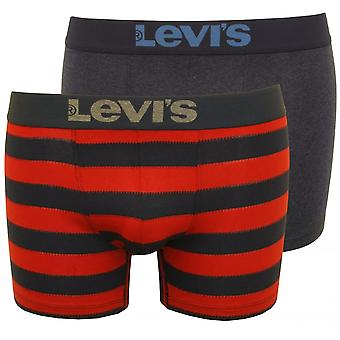 Levi's 2-Pack 200sf Rugby Stripe Boxer Briefs, rood/Navy