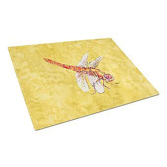 Carolines Schätze 8866LCB Libelle auf gelbes Glas Schneidebrett groß