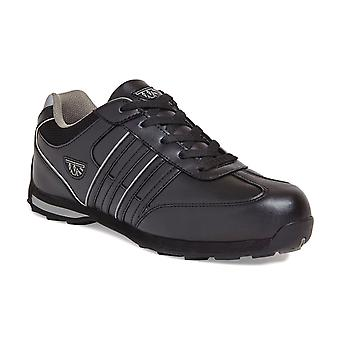 Worksite Unisex Black Low Profile Leather Safety Trainers. S1P SRA – SS616SM