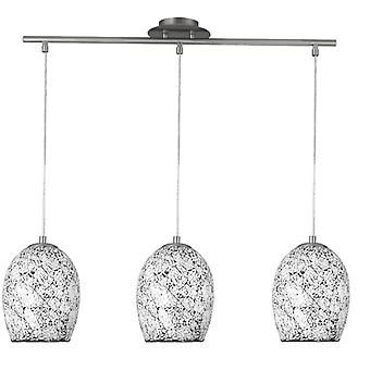 Crackle Chrome Three Light Pendant With White Mosaic Glass - Searchlight 8069-3wh