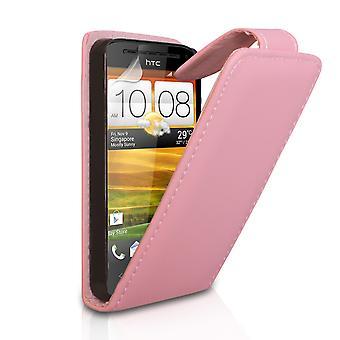 Yousave tilbehør HTC én SV læder-effekt Flip Case - Baby Pink