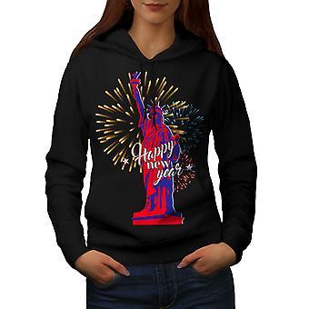 Vrijheid standbeeld Nieuwjaar vrouwen BlackHoodie | Wellcoda
