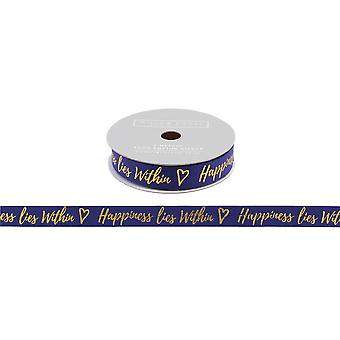CGB Giftware Willow And Rose Happiness Lies Within Navy Glitter Gift Ribbon (5m)