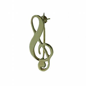 9ct Gold 27x12mm G Clef Brooch