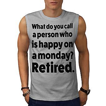 Feliz persona retiró la camiseta de los hombres GreySleeveless | Wellcoda
