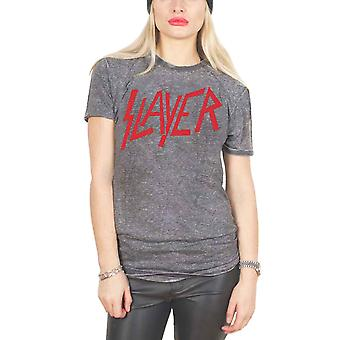 Slayer T Shirt Classic Distressed Band Logo Official Unisex slim fit Burnout