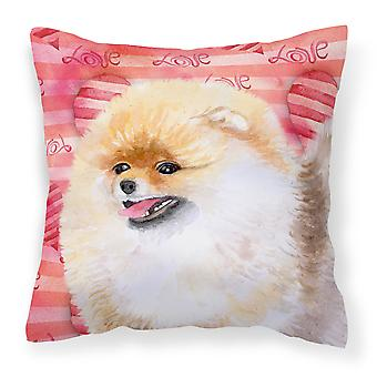 Carolines Treasures  BB9769PW1414 Pomeranian Love Fabric Decorative Pillow