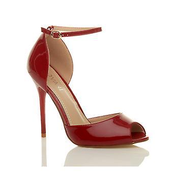 Ajvani dame aften fest stilethæl hæl ankelrem spænde sandaler peep toe domstol sko