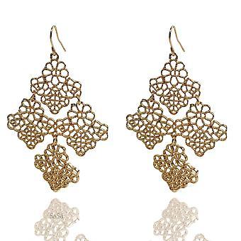 Womens Large Rose Gold Tone Hollow Flower Drop Dangle Statement Earrings