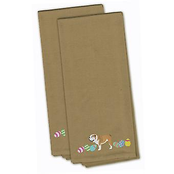 English Bulldog Easter Tan Embroidered Kitchen Towel Set of 2